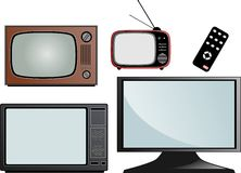 Televisions historical parade. History of television: older model black and white and modern TV color Royalty Free Stock Photography