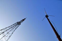 Televison tower and antenna. Televison tower and televison antenna in the blue sky Royalty Free Stock Images