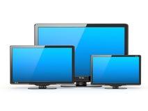 Televisor de alta definición. Diversos tamaños de pantalla. Imagen de archivo libre de regalías