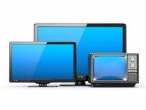 Televisor de alta definición. Diversos tamaños de pantalla. Foto de archivo libre de regalías