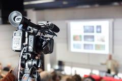 Telewizi wyemitowana konferencja prasowa fotografia stock