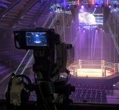Telewizji transmisja od gym dla walczyć bez reguł M1 zdjęcia royalty free