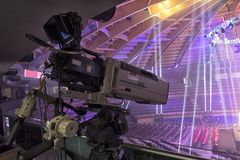 Telewizji transmisja od gym dla walczyć bez reguł M1 obrazy royalty free