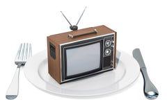 telewizor na talerzu TV zależność i robi pranie mózgu pojęcie, 3D rende ilustracja wektor