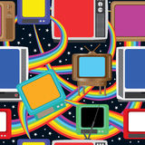 Telewizyjna Zabawa Przynosi Bezszwowego Pattern_eps Kolorom Fotografia Royalty Free