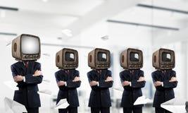 Telewizyjny nałóg ludzie biznesu fotografia stock