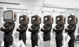 Telewizyjny nałóg ludzie biznesu obrazy stock