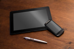Telework With Tablet, Smartphone And A Pencil. Telework With Tablet, Smartphone And Pencil Stock Photo