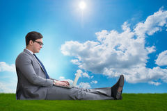 The teleworking concept with businessman working on grass Stock Photos