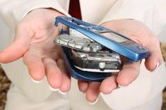 Teléfono celular quebrado Fotografía de archivo libre de regalías