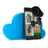 Teléfono con la cámara en el fondo blanco Foto de archivo libre de regalías