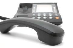 Teléfono corded negro Imágenes de archivo libres de regalías
