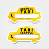 Teléfono de la muestra de la forma de la etiqueta engomada del servicio del taxi Imágenes de archivo libres de regalías