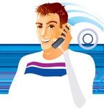 Teléfono del whith del hombre Imágenes de archivo libres de regalías