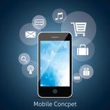 Teléfono elegante con la nube de los medios iconos del uso. Imagen de archivo libre de regalías