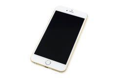 Teléfono elegante con la pantalla negra aislada en blanco Imagen de archivo libre de regalías