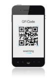 Teléfono elegante móvil que muestra el explorador de código de QR Fotos de archivo libres de regalías