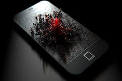 Teléfono elegante que emana la infección Fotos de archivo