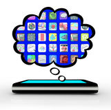Teléfono elegante que piensa la nube del pensamiento de Apps Fotos de archivo libres de regalías