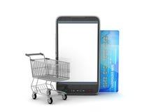 Teléfono móvil, carro de la compra y tarjeta de crédito Imagen de archivo libre de regalías
