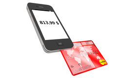Teléfono móvil con de la tarjeta de crédito Imagen de archivo libre de regalías