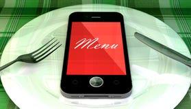 Teléfono móvil con el texto del menú, en una placa Fotos de archivo