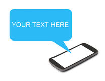 Teléfono móvil con la burbuja del discurso Fotos de archivo libres de regalías