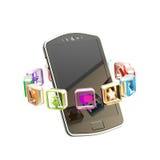 Teléfono móvil rodeado con aplicaciones Fotos de archivo
