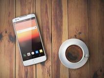 Teléfono móvil y taza de café en fondo de madera Imagen de archivo libre de regalías