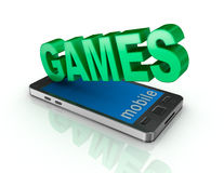 Teléfono y juegos elegantes concepto 3d Imagen de archivo libre de regalías