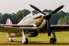 TELFORD, Regno Unito, il 10 giugno 2018 - RAF Hawker Hurricane sta sulla a fotografia stock libera da diritti