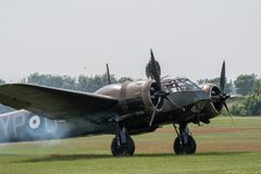 TELFORD, UK, JUNE 10, 2018 - A photograph documenting a solo Bristol Beaufort vintage aircraft starts its engines at RAF Cosford royalty free stock photography