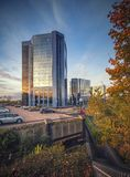 Telford Plaza Centre with Surrounding Car Park at Autumn. TELFORD, UNITED KINGDOM, OCTOBER 12: Telford Plaza Centre with Surrounding Car Park at Autumn royalty free stock images