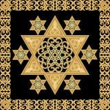 Telha da decoração da estrela de David com o ornamento do teixo no projeto do ouro Fotografia de Stock Royalty Free