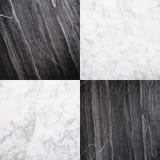 Telha de pedra de mármore preto e branco, fundo de pedra sem emenda da textura Imagens de Stock Royalty Free