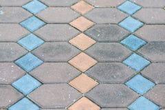 Telha do pavimento do tijolo, fim acima do pavimento do passeio do tijolo Fotografia de Stock Royalty Free