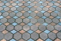 Telha do pavimento do tijolo, fim acima do pavimento do passeio do tijolo Fotos de Stock Royalty Free
