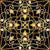 Telha preta com a decoração dourada luxuoso do art deco Ornamento dourado simétrico com elementos plásticos Victorian do vintage Imagem de Stock