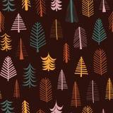 Telha sem emenda da repetição do teste padrão do vetor das árvores do outono ilustração royalty free
