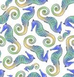 Telha sem emenda do teste padrão do Seahorse Imagem de Stock Royalty Free