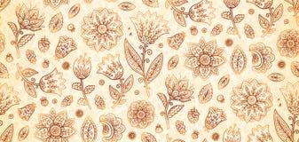 Telha sem emenda do teste padrão do vetor indiano das flores do vintage do boho das cores da hena ilustração royalty free