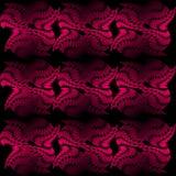 Telha sem emenda do vetor composta das formas abstratas desiguais, testes padrões vermelhos no fundo preto, efeito 3d ilustração stock