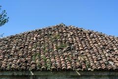 Telha vermelha muito velha no telhado velho da casa na natureza imagens de stock