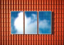 Telhado alaranjado com fotovoltaico ilustração stock