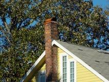 Telhado amarelo brilhante com a chaminé do tijolo vermelho foto de stock royalty free