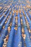 Telhado azul sujo fotografia de stock