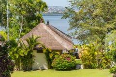 Telhado cobrido com sapê tradicional em Bali fotografia de stock royalty free