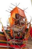 Telhado da construção do wat Fotografia de Stock