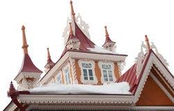 Telhado do buildng de madeira bonito velho fotografia de stock royalty free