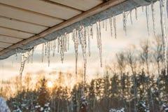 Telhado do céu do sol do inverno dos sincelos Fotografia de Stock Royalty Free